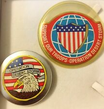 """Vtg Operation Desert Storm Lot 2 Pin Back 2"""" Eagle 3"""" Support Our Troops Buttons"""