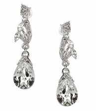NINA Silver Swarovski Crystal Teardrop Dangle Earrings