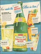 Vintage ad for Canada dry Tom Collins Mixer`retro bottle glass cherry