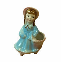Vintage Little Girl W/ Basket Ceramic Planter Retro Succulent Flower Pot Kitsch