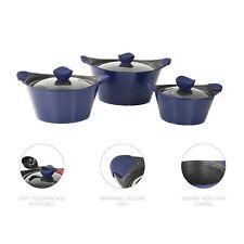 3pc Caia Non Stick Stockpot Casserole Pot Pan Glass Lid Die Cast Cookware Set