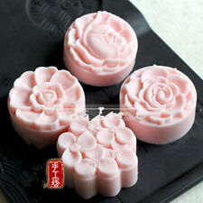 Flower Mold Round Shaped Silicone Soap Mold 4 Cavities Handcrafted Mooncake Mold