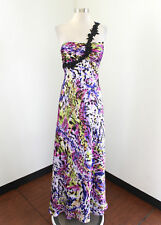 Abstract Print One Shoulder Evening Dress Formal Prom Gown Size 8 Purple Blue