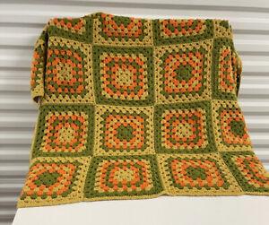 VINTAGE AFGHAN BLANKET GRANNY SQUARES Handmade Crochet Quilt Throw yellow 56x34