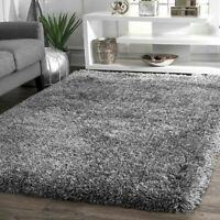 nuLOOM Handmade Contemporary Modern Fluffy Plush Shag Area Rug in Grey