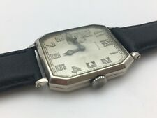 ILLINOIS 1930's MENS WRISTWATCH RECTANGULAR CUT CORNER SUB SECONDS AT 9 ART DECO