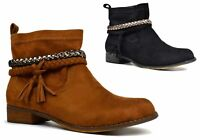 New Ladies Tassel Low Block Heel Chelsea Soft Cushioned Ankle Boots UK Size 3-8