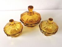 Set Of 3 Vintage Retro 1930s Dressing Table Accessories Amber Coloured Glass