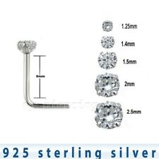 5pcs. 22G .925 Sterling Silver L-Shaped with Prong Set Clear Cz Nose Stud Ring