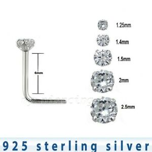 L Bend Nose Stud Nose Pin AtoZ Piercing Tri Claw Set Round Gemstone Top 22 Gauge Silver L Shape