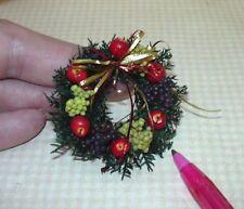 Miniature Apple Della Robbia Christmas Wreath, Red/Gold Ribbons: DOLLHOUSE 1/12