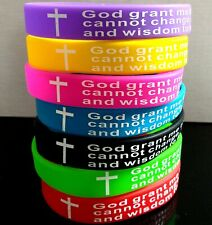 Wholesale 50 GOD Serenity Prayer Cross Silicone Bracelet AA & NA recovery gifts