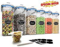 Set of 6 Large Plastic Cereal Dispenser/Food Storage Container 135.3oz, BPA-free