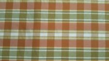 "Green/tan/orange/gold fall plaid fabric drapery/upholstery/decoration 55"" width"