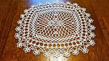 Beautiful Antique Tatted Doily Egg White 12X14 Mint Condition