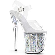 "8"" Orange Glitter Clear Platform Stripper Heels Pleaser Dancer Shoes 6 7 8 9 10"