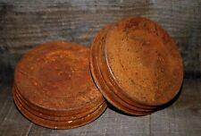 "2 Primitive Rusty Tin Jar Lid - Plain - Wide Mouth - 3½ """