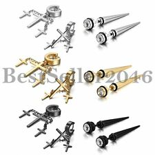 6 Pairs Men Women Stainless Steel Dangle Cross Huggie Piercing Earrings Ear Stud