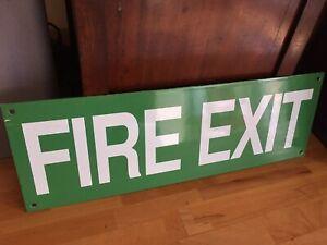 "Original Vintage Green & White Enamel ""FIRE EXIT"" Sign"