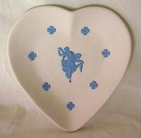 WEDGWOOD Blue and White Jasperware Something Blue Heart Dish Tray England NEW