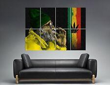 Jamaica Rasta Man Smoking Ganja Weed Wall Art Poster Grand format A0