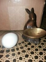 Vintage Brass Rabbit with Bowl Holding Blown Glass Egg Easter Bunny