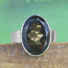 925 Sterling Silver smoky Quartz gemstone Ring Size 8 US 5.48 g crystalcraftindi