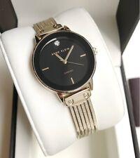 Anne Klein Watch * 3220BKGB Diamond Black Dial Gold Steel Bracelet for Women