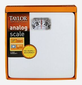 "Taylor BATHROOM SCALE 300 lb. Analog White 10""x10"" Accurate Easy Read 20005014T"