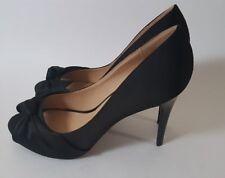 BEBE Bryiana High Heel Shoes Peep Toe Knot Pump Black Size 10