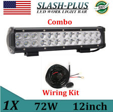 "12""inch 72W LED Light Bar Work SPOT FLOOD Combo Tractor 4WD CAR ATV+ Wiring Kit"