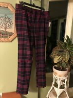 Crown & Ivy Women's Pants Size 14W Navy Pink Plaid Striped Preppy NWT