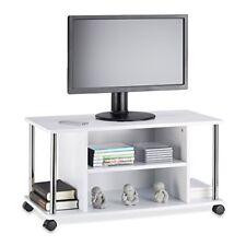 Relaxdays mueble para TV con ruedas madera y acero inoxidable blanco 40x80...