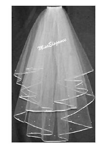 BRIDAL VEIL Ivory white 2T Elbow Wedding Bridal veil 3mm  Satin Ribbon Edge comb