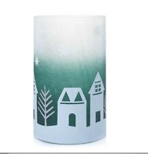 Yankee Candle WINTER VILLAGE Crackle Glass Large Jar Holder Green White Glitter