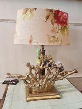 Elegante Colmore Lámpara de Mesa Pie Aluminio Oro Coral Mediterráneo Altura 50cm