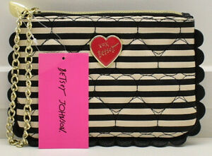 Betsey Johnson Scallop Wristlet Clutch Handbag Black White Stripes & Dots New!