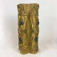Vintage Johann Gunter of Baden German Carved Wax Candle Gold Red Flowers