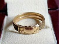 Antique 9ct Gold Mourning Ring. Real Hair. Circa 1900s. Beautiful Piece !!