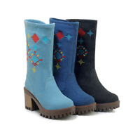 Women's Ethnic Embroidery Denim Chunky Heel Round Toe Platform Mid Calf Boots SZ
