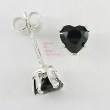 STERLING SILVER 925 4mm ONYX BLACK HEART Post Stud Earrings NEW