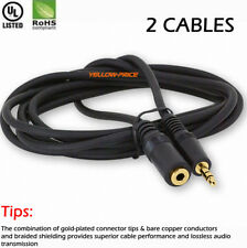 2pcs 3Ft 3.5mm Audio Aux Cable Male to Female Stereo Extend All Headset Cord