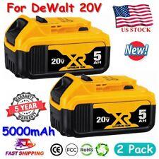 2Pack For DEWALT DCB206-2 20V 20 Volt MAX XR 5.0Ah Lithium Battery DCB205 DCB201