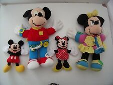 MICKEY & MINNIE MOUSE LEARN TO DRESS TOYS + TWO BEAN BAG TOYS  - DISNEY