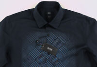 Men's HUGO BOSS Black Blue Geometric Shirt XL XLarge NWT NEW $195 Slim Fit NEMOS
