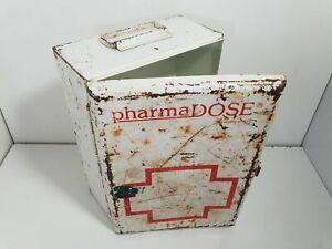 Boite Armoire à pharmacie ancienne vintage métal tole kit secours PharmaDose