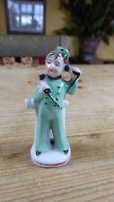 "Art Deco China Bell Boy/Bellhop 3"" Figurine Green Uniform with Telephone"