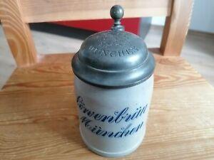 Uralter Bierkrug Löwenbräu München 0,4L geeicht , geritzte Schrift  m Zinndeckel