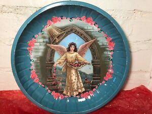 Vintage Tin Cookie Plate Serving Tray with Angel