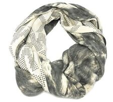 Michael Kors Reversible Infinity Scarf Wrap Gray Off White MK Logo MSRP $68 NEW
